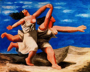 Pablo Picasso huile classique Peinture Deux femmes en cours sur la plage (La course) 100% à la main par le peintre expérimenté sur la toile Picasso929