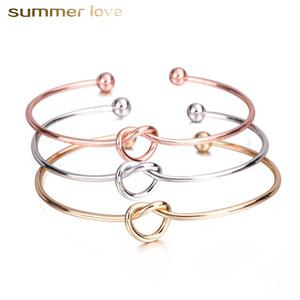 Venta caliente de oro rosa de color nudo nudo amor brazalete de la pulsera para las mujeres ajuste simple tamaño abierto alambre abierto brazalete de moda joyería femenina