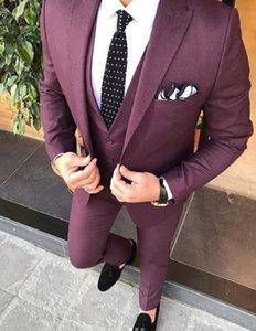 Handsome One Button Groomsmen Peak Lapel Groom Tuxedos Men Suits Wedding Prom Dinner Best Man Blazer(Jacket+Pants+Tie+Vest) W112
