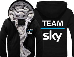 Team Sky Pro Cycle Толстых ватки Mens Outwear Большого Yards Хлопок Hoodie куртка пальто ветровка Теплый
