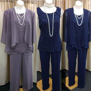 Düğün Müslüman Groom için Ceket Kıyafet Örgün Akşam Dantel ile Gelinlikleri Pantolon Suit Of 3 Üç adet Anne