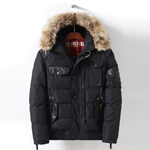 New Mens Winter-Parkas mit Fell Kapuze warme Winterjacken Männer Zipper dick gepolsterte lange unten Jacke der Mens Overcoat Jugend Hot Verkauf Jacken