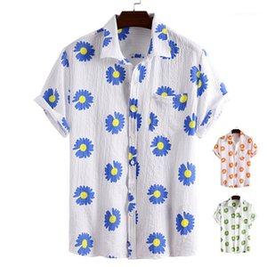 Tops Cardigan Floral Printed Ladies Tees Summer Casual Womens Blouses Designers Lapel Neck Short Sleeve Womens