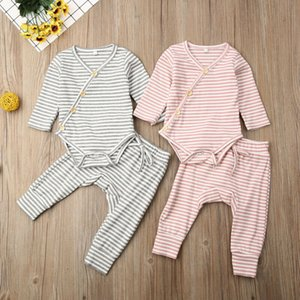 Autumn Clothes 2PCS Newborn Baby Girl Boy Clothes Knitted Striped Romper V Neck Button Jumpsuit Trouser Outfit Baby Set 0-18M