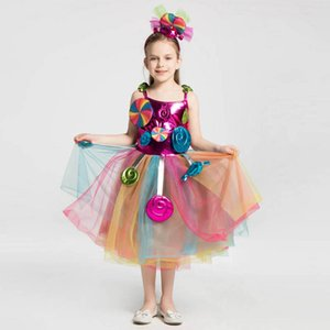 Fashion candies girls dresses lace princess dress rainbow kids dresses Costume party girls dress formal dresses kids clothes retail B460