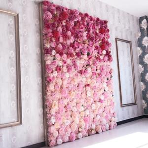 della parete del fiore artificiale 62 * 42cm di rosa fiori di ortensia sfondo fiori domestica Wedding del partito accessori decorativi Wedding SH190920