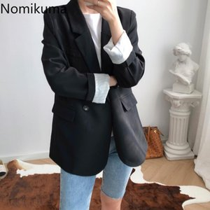 Nomikuma mode Bouton simple col cranté femmes Blazer 2020 poches élégantes Femme d'extérieur Lady Workwear 3Z126