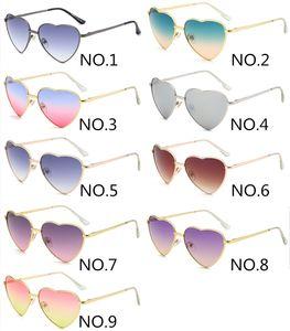 En forma de corazón de la vendimia UV400 gafas de sol retro metal Marca manera de las señoras Gafas clásico 9 colores al por mayor envío gratuito
