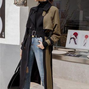 Nice Women Hit Color Belt Pocket Patchwork Windbreaker Autumn Tide Female Korean Clothes Loose Coat Long Trench Coat