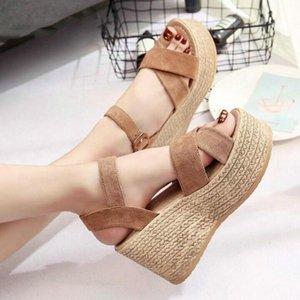 de Verão Buckle Mulheres Sandals Velvet Flock Peixe Boca forma do salto elevado Toes plataforma aberta Mulheres Sandálias Sapatos