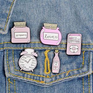 5 pcs / set métal broche mignon de bande dessinée rose réveil lait pot jar alliage broche haute broche émail émail Denim vêtements badge FJFBH-12