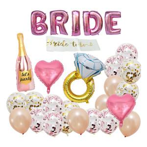Wedding Rose Gold BRIDE Diamond Ring Aluminum Film Balloon Set Wedding Party Scene Decoration Supplies Engagement Ring Champagne Balloon