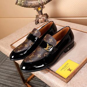 Nuevos Hombres de Lujo Monte Carlo Diseñador de Zapatos de Vestir Negro Marrón Enrejado de Cuero Mocasines Casuales Los hombres se deslizan en los Zapatos Oxford Puntiagudos Con caja