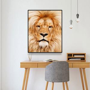 Laeacco Красивого лев Mordern Холст Живопись Каллиграфия Постеры и распечатки Wall Art Pictures для гостиной Украшения