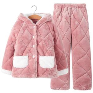 теплого плюшевые спальные куртки Детских пижам девушки зимой стиль утолщенной хлопка клип девушки большой детская домашняя одежда коралл плюш