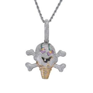 Мультфильм пиратское мороженое кулон ожерелье Серебряный хип-хоп циркон кулон ожерелье цепь из нержавеющей стали Creative Hiphop ювелирные изделия оптом