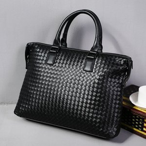 Designer Men's Bag Leather Large Briefcase Hand Woven Luxury Handbags Business Tote Bags for Men High Quality Laptop Handbags