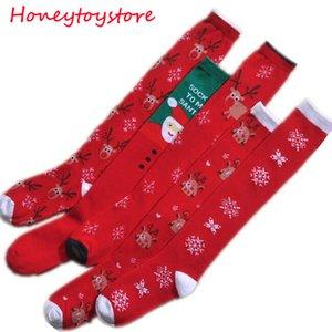 Прекрасный рождественский чулок Снежинка шерсти зимних женщин Cute Deer Плюшевые Теплая Printed рождественские носки доставка DHL