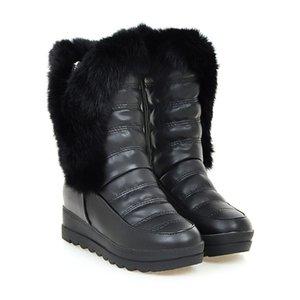 Good Quality Winter Boots Women Warm Shoes Platform High Heels 2019 Black Gray Real Fur Ladies Snow Boots Plus Size 88