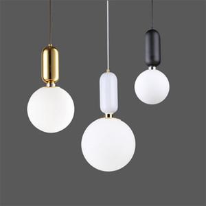 Kreative Nordic einfache LED-Pendelleuchte-Platten-Metall Milch Frosted runde Glasschirme Pendelleuchte für Esszimmer Bar L22