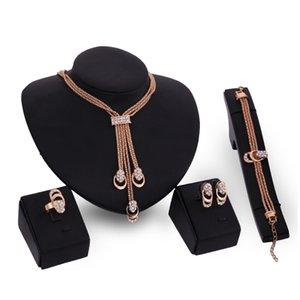 목걸이 귀걸이 팔찌 Rrings 쥬얼리 세트 Luxury Fashion Rhinstone 18K 골드 도금 체인 Tassel Wedding Jewelry 4-Pece Set JS049