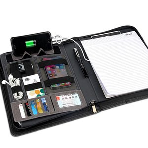 Bolso multifuncional con cierre de cremallera y bloc de notas con banco de notas y banco de notas con clip USB y cable USB