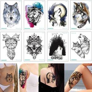 Черный Свирепый волк Временные татуировки наклейки Body Art Drawing Moon Рев Dreamcatcher Дизайн Поддельные бумаги переноса татуировки Декаль парня девушку