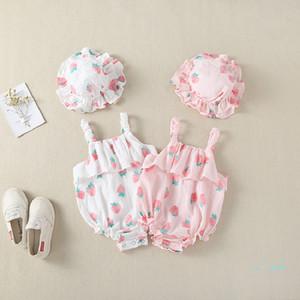 """ملابس أطفال فتيات """"رومبر فراولة"""" طبعن مثلث صيفي لرضيع يتسلق ملابس """"صن هات"""""""