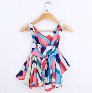 Baby Girl Clothes arcobaleno striscia ragazze abiti senza schienale bambino principessa dal cotone della bretella Abiti Moda bambini Abbigliamento WZW-YW3836