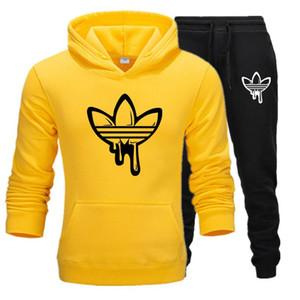 새로운 패션 남성 후드 정장 운동복 남성 여성 스웨트 셔츠 스웨트 팬츠 가을 겨울 양털 후드 풀오버 운동복