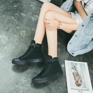2020 fall new magic canvas shoes type 2female Korean version of the classic hundred flat bottomed high-heeled students