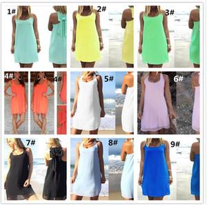 100 pcs summer mulheres dress chiffon beach dress com bownot candy color mulheres cocktail jantar chiffon dress m457