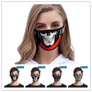 디자이너 얼굴 마스크 두개골 개성 차원 럭셔리 얼굴 마스크는 검은 방진 패션 인쇄 얼음 실크 직물 세척 할 수 있습니다