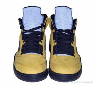 Аутентичные Air 5 SP Мичиган Inspire Ретро Мужская Баскетбольная Обувь Amarillo College Navy Спортивные Кроссовки CQ9541-704 С Оригинальной Коробке 40-47