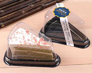 3000pcs 6 дюймов / 8 дюймов Cheese Cake Triangle Plastic Box Black Bottom блистерная коробка с крышкой Прозрачный торт Контейнер SN836