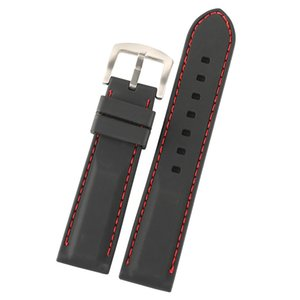20mm 22mm 24mm Siyah Silikon Kauçuk Saat Kayışı Bilek Bandı Değiştirme Su geçirmez Watchband Kırmızı Beyaz Hat Dikiş Düz Uçlar