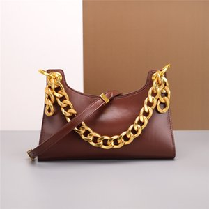 The New 2020 Baby Blue Half Underarm Bag Pack Thick Chain Baguettes Crocodile Pattern Leather Shoulder Bag Tide Niche