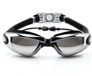 2019 Силикагель Connected Earplug Adult бассейн очки Большие рамки New предотвращающие запотевание плавать очки Женский Electroplated Плавание Очки