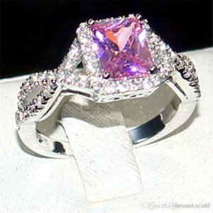 Nfn97 Eternal 925 Sterling Silver Jewelry Princess-cut 6CT square Pink Topaz Diamond Rings finger wedding Band Ring for Women size 5-11