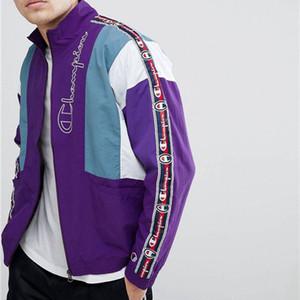 Designermarken der Frauen der Männer Jacken Frühling und Herbst mit Windschutz Aktiv Oberbekleidung Reißverschluss Revers Ausschnitt Kontrast-Farben-Jacken Top-Qualität L B101610V