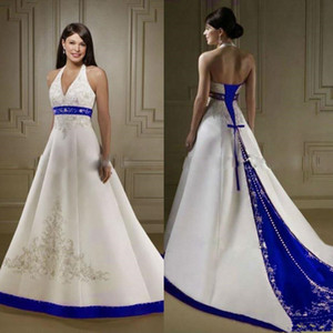 2020 Yeni Fildişi ve Kraliyet Mavi Saten A Hattı Gelinlik Halter Boyun Açık Geri Lace Up Mahkemesi Custom Made Nakış Düğün Gelin Önlükler