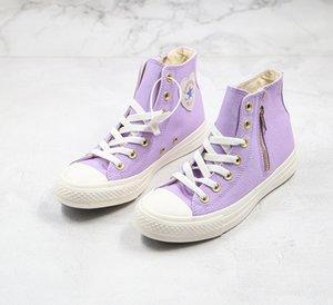 새로운 1970 PLAY 청크 테일러 디자이너 신발 오사카 사랑 지퍼 70S 하이 탑 캔버스 신발 사이드 지퍼 타로 퍼플 그레이 화이트 1970 년대 캐주얼 신발