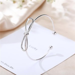 Japan and South Korea S925 pure silver open Bow Bracelet women's sweet simple fashion all round Bracelet manufacturers wholesale