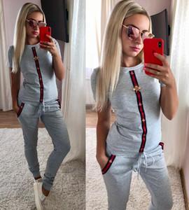 womens concepteur imprimé costumes de sport chemises à manches courtes et un pantalon de taille de deux costumes ensembles de pièce S ~ XL