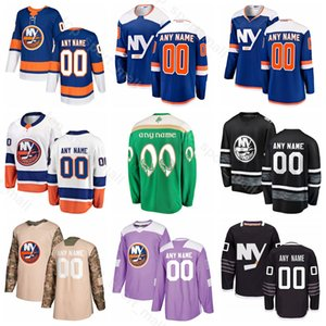 Нью-Йорк Айлендерс Хоккей 13 Мэтью Барзал Джерси 27 Андерс Ли 18 Энтони Beauvillier Лео Комаров Camo День ветеранов Пользовательское имя