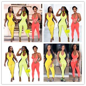 Tuta Color Matching con scollo a V di estate Donne senza maniche ghette delle signore Backless siamese pantaloni femminili sexy Fashion Wear S-2XL Hot LY316
