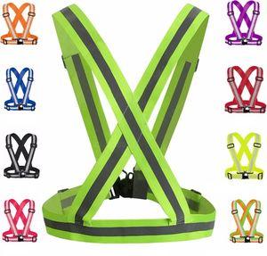 Giacca di sicurezza gilet reflettente regolabile Giacca alta visibilità Abbigliamento da ciclismo Cintura riflettente per adulti e bambini Gilet di sicurezza
