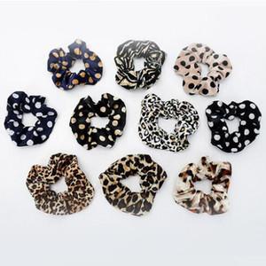 Moda Leopard Çizgili Kadife Saç Kravatlar Scrunchies Kızlar Kadınlar Dot Elastik Saç Bantları Yumuşak Aksesuarları at kuyruğu Tutucu GD58