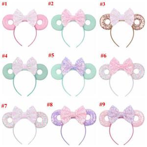 Bebek Saç Fare Ears Saç Bandı Glitter Payetler Yaylar Donut Kafa Çocuk Cosplay Headdress Hoop Çocuk Saç Aksesuarları 15Color Sticks
