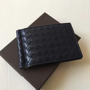 Südkorea stil stricken leder geld klammern mode männer geldbörse ultradünne schlanke brieftasche mini leder geldbörse id kreditkartenetuis